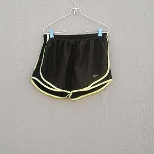 Nike | Dri Fit black and green running shorts